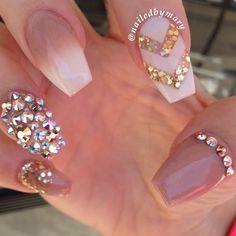 Nudity and bling. #nails #coffinnails #swarvoskicrystal