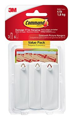 Command Sawtooth Picture Hangers Value Pack White 3Hangers 17042ES -- Check out the image by visiting the link. (Note:Amazon affiliate link)