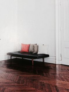 A beautiful parquet floor - a little too orangey brown but gorgeous and simple
