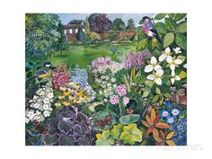 The Garden with Birds and Butterflies Giclee Print by Hilary Jones at AllPosters.com