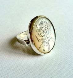 Protea Scrimshaw Ring. silver, mother of pearl, ink. Georgina Taylor