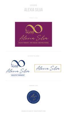 Logos Alexia Silva Holistic Therapist. Holistic brand, healer brand, psychic medium, reiki practitioner. #branding #logos #logoinspo #infinity #logo #olivebranches #brandinginspo #brand #logodesign #brandinspo #infinitylogo #farmhouse #rusticbrand #rustic #blue #burgundy #gold Square Business Cards, Business Card Logo, Branding Portfolio, Branding Design, Logo Design, Reiki Practitioner, Rustic Blue, Core Values, Online Entrepreneur