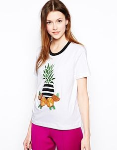 Mother+of+Pearl+T-Shirt+in+Pineapple+Fruit+Print