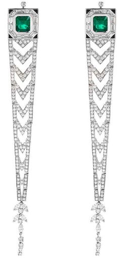Mellerio Diamond emerald 18k white gold link drop earrings