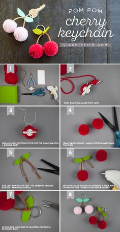 Tutorial for making a cherry pom-pom keychain. Tutorial for making a cherry pom-pom keychai. Pom Pom Crafts, Yarn Crafts, Diy And Crafts, Crafts For Kids, Pom Pom Diy, Preschool Crafts, Kids Diy, Creative Crafts, Easter Crafts