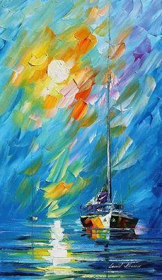 """Caribe Sunrise"" -- Contemporary -- Leonid Afremov -- Russian -- Oil on…"