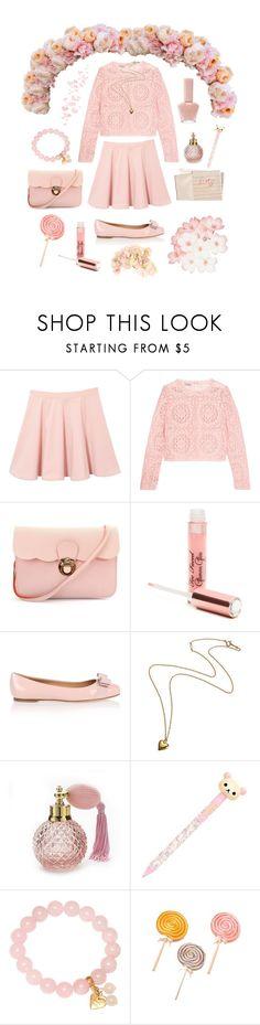 """""""Pink ♡"""" by silvercherryblossom ❤ liked on Polyvore featuring Temperley London, Paul & Joe, Bellagio, Too Faced Cosmetics, Salvatore Ferragamo, Hahn, Adele Marie, Candie's, Sia and vintage"""