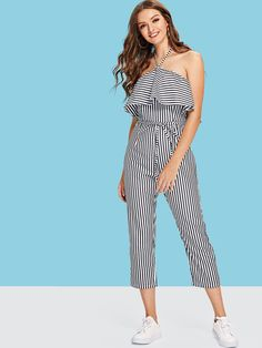 12699996f8 Tiered Striped Halter Jumpsuit