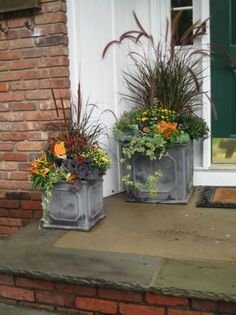 these beautiful Fall planters! Container Gardening Love these beautiful Fall planters! ContaineLove these beautiful Fall planters! Container Gardening Love these beautiful Fall planters! Fall Planters, Outdoor Planters, Garden Planters, Fall Potted Plants, Autumn Planter Ideas, Winter Plants, Square Planters, Ivy Plants, Flower Planters