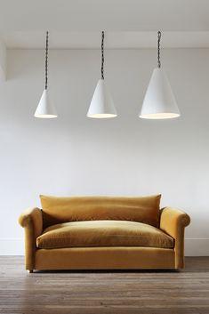 Petersham Sofa by Rose Uniacke Rose Uniacke, Ceiling Installation, Upholstered Sofa, Cotton Velvet, Hanging Lights, Soft Furnishings, Love Seat, Upholstery, Interior Design