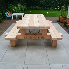 Free Picnic Table Plans In All Shapes and Sizes is part of Patio table - This is a dual purpose picnic table Not only is this picnic table great for outdoor eating, but it easily converts into two cute garden benches Diy Picnic Table, Picnic Table Plans, Patio Table, Pallet Picnic Tables, Garden Table, Diy Garden Furniture, Diy Outdoor Furniture, Log Furniture, Antique Furniture