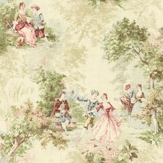 Wallpaper Designer French Toile Faux Tapestry Green Blue Red Pink on Cream   eBay