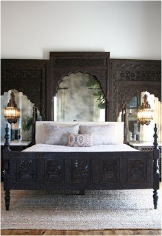 Moroccan, Custom Bed, Carved Wood Headboard, Antique Mirror, Moroccan Pendants, Ethnic Bedroom, Pillows