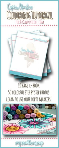 Flower Copic Tutorial + Free Printable Mother's Day Card | My Creative Scoop for DawnNicoleDesigns.com