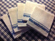 Blue and white towels White Towels, Blue And White, Table, Tables, Desk, Tabletop, Desks