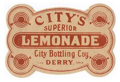 City's Superior Lemonade City Bottling Coy. Derry