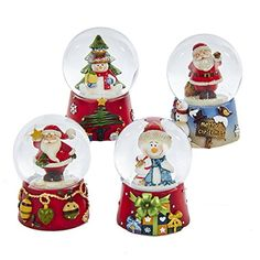 Kurt Adler 1 Set 4 Assorted 45 MM Resin Snowman And Santa Water Globe ** You can get more details here : Home Decor Snow Globes