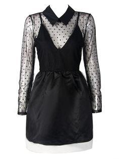 sheer collared dress  free shipping!  nu goth pastel goth goth hipster vintage fachin dress sheer polka dot collared free shipping choies