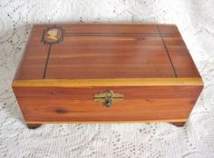 Vintage Art Deco Small Cedar Chest Box with Silhouette $8.00