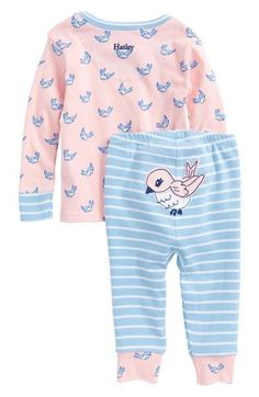 Main Image - Hatley Fluttering Birds Organic Cotton Fitted Two-Piece Pajamas (Baby Girls) #babygirlpajamas