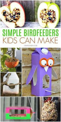 Looking for easy bird feeders kids can make? We've got all the inspiration you need with 15 DIY birdfeeders using materials you probably own already, pinecones, teacups, milk cartons and tons more fun ideas. Bird Feeders For Kids To Make, Make A Bird Feeder, Bird Feeder Craft, Bird House Feeder, Homemade Bird Feeders, Cute Kids Crafts, Spring Crafts For Kids, Projects For Kids, Diy For Kids