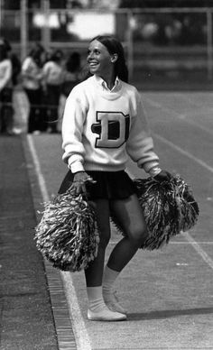 Cheerleader Debbie Morese '73 c.1970 at a Dickinson College football game.
