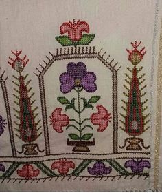 This Pin was discovered by Neş Crewel Embroidery, Cross Stitch Embroidery, Cross Stitch Patterns, Palestinian Embroidery, Bargello, Handicraft, Color Patterns, Bohemian Rug, Retro Vintage