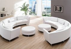 Get classy look inside your living room by having Italian curved leather sofa