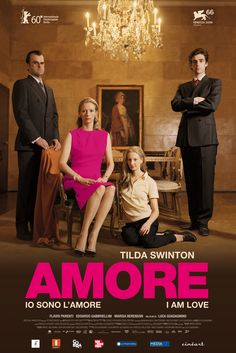 "Io sono l'amore [I Am Love] - Luca Guadagnino 2009 -- ""The wealthy Recchi family has undergone sweeping changes. Eduardo has named a successor to his company, & surprised everyone by splitting power between his son Tancredi & grandson Edo. But Edo had always dreamed of opening a restaurant with his friend Antonio. To make matters worse, the very foundation of the entire family may be totally shattered after Tancredi's wife falls in love with Antonio & begins a passionate love affair."""