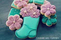 Flower in Boot Cookies - gust post by Yankee Girl Yummies