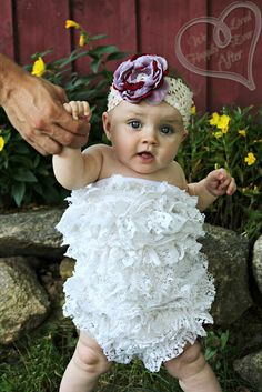 DIY  ::  Baby Petti Romper  ::  she ruffles her own lace, but you could use lace or whatnot that was already ruffled...Also looks as if she used plain bloomers for the bottom, not the actual onesie bottom (you'd have to add elastic to the waist of the onesie bottom if you were to do it that way)....either way, LOVE this.