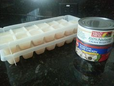 Chicken cubes! A cool yummy treat for your dog to help beat the heat! For extended entertainment,  use a large plastic tube!  Dogs stay cool and entertained outside!