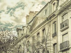 Color edited urban scene low angle perspective view of old style or neoclassical buildings in Buenos Aires, Argentina.