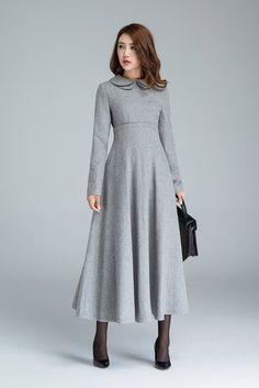 486fc7e13c9a Long grey dress wool dress winter dress pocket dress high