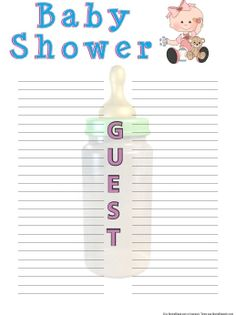 Clean image for free printable baby shower guest list