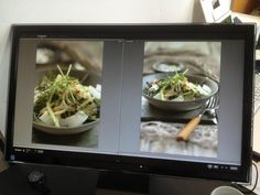 Rob Anderson's salad shots on the monitor at the #sweetpaul food styling and photography workshop.