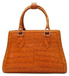 Authentic M Crocodile Skin Womens Belly Leather Hobo Tote Bag W/Strap Tan Handbag
