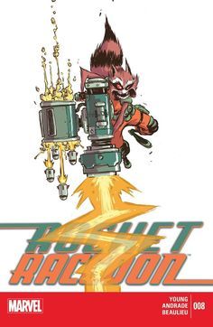 Rocket Raccoon Story: Skottie Young Art: Filipe Andrade & Jean-Francois Beaulieu Cover A: Skottie Young Cover B: Justin Ponsor Cover C: Phil Noto Publisher:… Marvel Heroes, Captain Marvel, Marvel Comics, Rocket Raccoon, Comic Book Covers, Comic Books, Groot Guardians, Young Art, Skottie Young