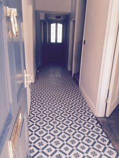 New Bespoke Victoria Encaustic Cement Tile #cement #corridor #blue #pattern #bespoke #tiles