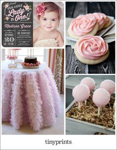 Throw a pretty pink party that is just as precious as your little lady. Frilly decor and sweet pink details will bring the girly theme together. Image credit: Sugar Cookies - http://onesweetappetite.com/sugar-cookie-recipe/ Ruffled Tablecloth - http://party-wagon.com/childrens-party-blog/2012/11/4/pink-party.html Cake Pops - http://www.karaspartyideas.com/2012/10/vintage-pink-cowgirl-birthday-party.html