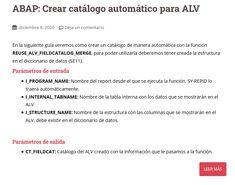 En la siguiente guía veremos cómo crear un catálogo de manera automática con la función REUSE_ALV_FIELDCATALOG_MERGE Create