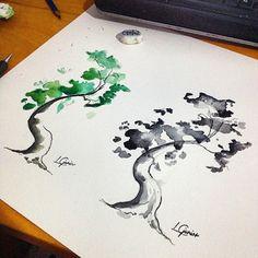Tree Watercolor  •  • sketch tattoo #tattoo #watercolor #watercolortattoo #art #arte #tree #arvore #arvoressomosnos #tatuagem #espacoalvorada #pb #color #colorida #pintura #paint #artoftheday #aquarela #aquarelle #lcjunior