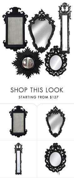 """""""black mirrors"""" by julie-rawding ❤ liked on Polyvore featuring interior, interiors, interior design, home, home decor, interior decorating, Oomph, Howard Elliott, Laurence Llewelyn-Bowen and Home Decorators Collection"""