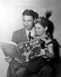 """Child actor Tommy Rettig reads a book by Dr. Seuss with Dr. Seuss on the set of the 1953 film """"The Fingers Of Dr. T"""" based on a story by Dr. I Love Books, Books To Read, My Books, Reading Books, Celebrities Reading, Book People, Child Actors, Try Harder, Monster"""