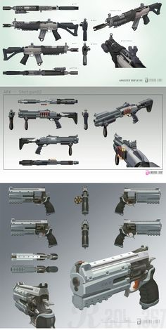 "anatoref: "" Weapon Concepts Row 1 - 3 Row 4 Left, Right Row 5 Left, Right Row 6 """