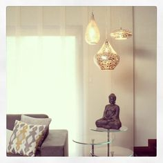 The talented Paula Biondi of Biondi Decor used three of our handmade Egyptian pendants to illuminate this space!