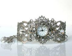 Silver Women Wrist Watch Vintage Style by LeBoudoirNoir on Etsy