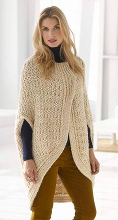 Free knitting pattern for Cocoon Cape wrap cardigan Designed by Lion Brand, this wrap has armholes that create sleeves from the draped fabric. S/M (L/1X, 2X/3X)