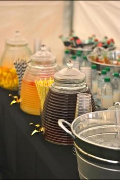 Love these drink containers at a Bumble Bee Baby Shower!   See more party ideas at CatchMyParty.com!  #partyideas #babyshower