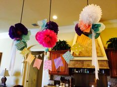 DIY super cute tissue paper lanterns, flowers and poofs for a shabby chic bridal shower or party.